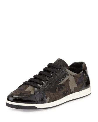 Low-Top Camo Nylon Sneaker, Black Pattern