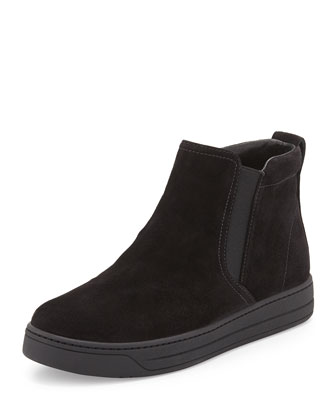 Flat Suede Pull-On Bootie, Black (Nero)