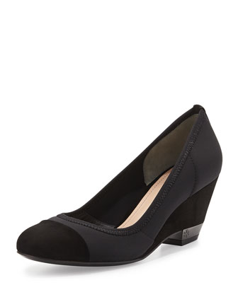 Cadence Suede Stretch Demi-Wedge Pump, Black