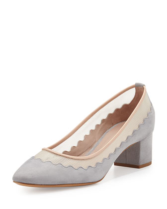 Scalloped Suede-Mesh Ballet Pump, Gray