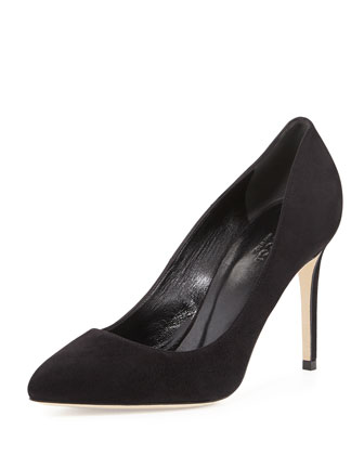Brooke Suede Point-Toe Pump, Black