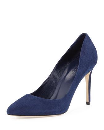Brooke Suede Point-Toe Pump, Blue