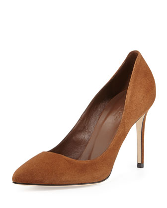 Brooke Suede Point-Toe Pump, Brown