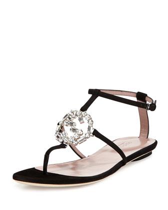 GG Sparkling Thong Sandal, Black