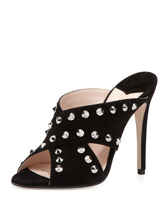 Studded Suede Crisscross Slide, Nero
