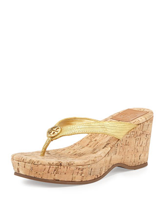 Suzy Cork Wedge Thong Sandal, Gold