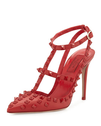 Allover Rockstud Slingback Pump, Red