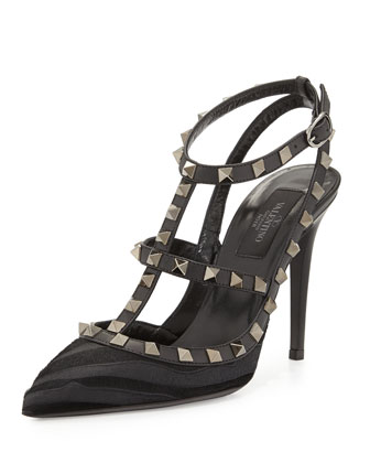 Tiger-Print Calf Hair Rockstud Slingback Pump, Black