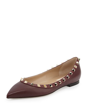 Rockstud Trim Leather Ballet Flat, Rubin