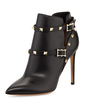 Rockstud Studded-Harness Bootie, Black