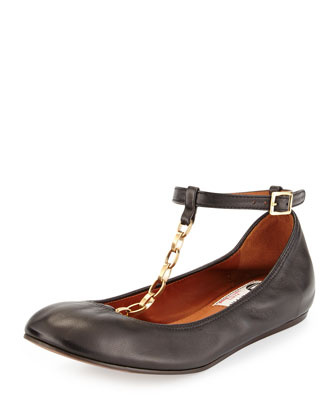 Scrunched Chain Leather Ballerina Flat, Black