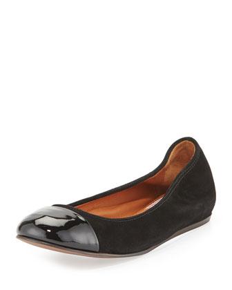 Suede Cap-Toe Ballerina Flat, Black