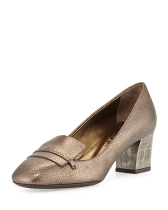 Embossed Block-Heel Loafer