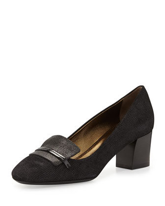 Chunky-Heel Textured Loafer, Black