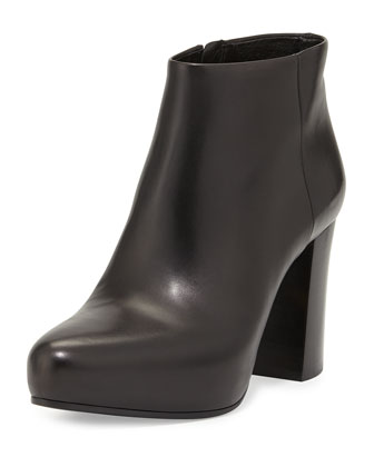 Leather Platform Bootie, Nero