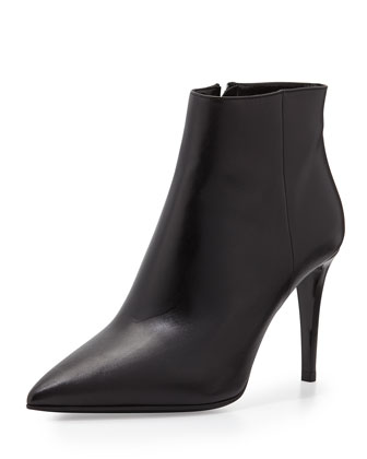 Soft Leather Side Zip Bootie, Black (Nero)
