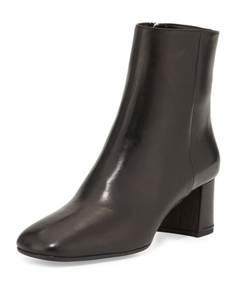 Leather Ankle Boot, Nero
