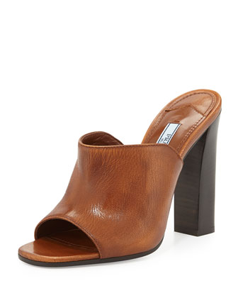 Calfskin Wide-Band Sandal, Tabacco