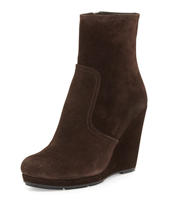 Suede Side-Zip Wedge Bootie, Moro