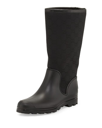 GG Flat Rain Boot, Black