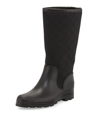 GG Flat Rain Boot, Black