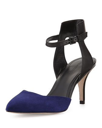 Gia Two-Tone Ankle-Wrap Pump, Blue