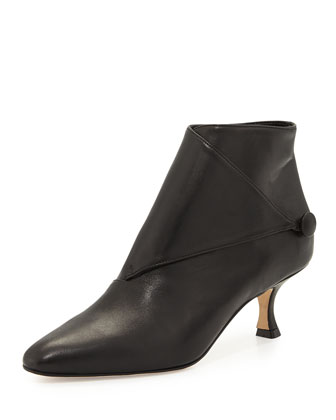 Diaz Leather Low-Heel Bootie, Black