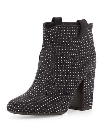 Pete Studded Suede Ankle Boot, Dark Gray