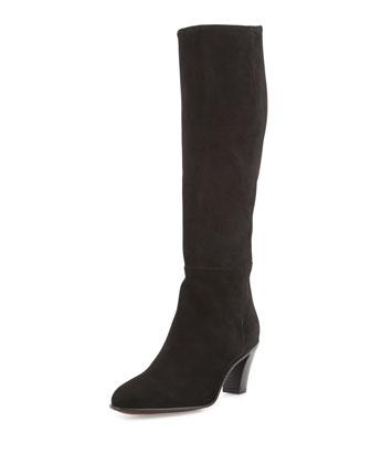 Suede Side-Zip Knee Boot, Black