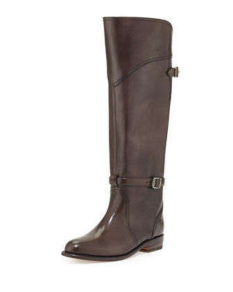 Dorado Polished Leather Riding Boot, Dark Gray