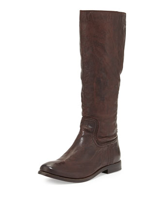 Anna Tumbled Leather Knee Boot, Dark Brown