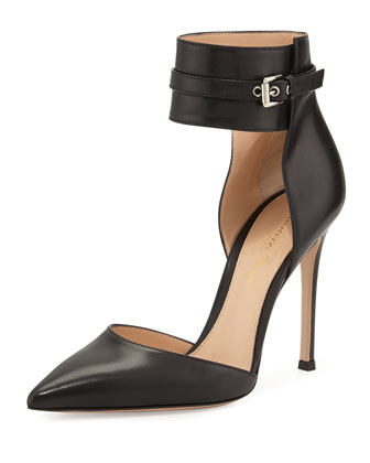 Leather Ankle-Wrap Pump, Black