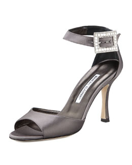 Manolo Blahnik Dribbin Jewel-Buckle Satin Sandal, Gray
