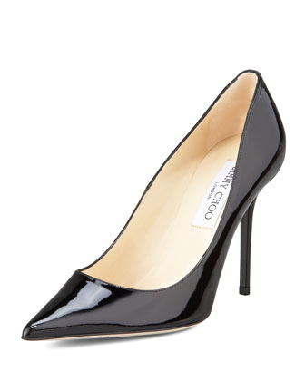 Abel Point-Toe Patent Pump, Black
