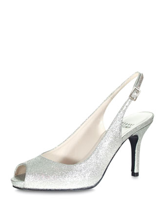 Litely Open-Toe Slingback, Silver