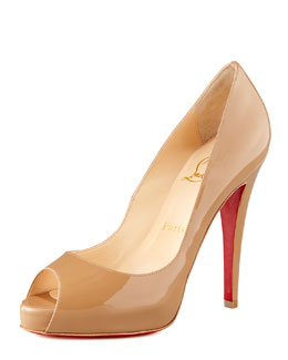 Christian Louboutin Very Prive Patent Open-Toe Platform Pump
