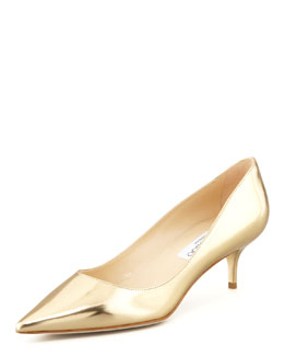Jimmy Choo Aza Low-Heel Metallic Pump, Gold