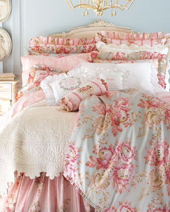 Pagoda Toile & Baroque Floral Bed Linens, King