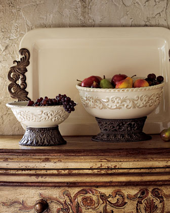 Ceramic Serving Bowls & Tray