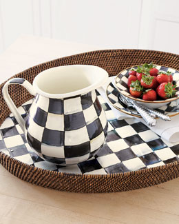 "MacKenzie-Childs ""Courtly Check"" Rattan Party Tray & Pitcher"