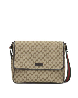 Canvas Flap Messenger, Beige/Ebony