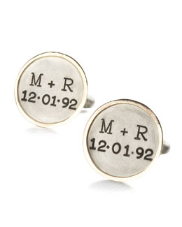 Heather Moore Personalized Round Cuff Links