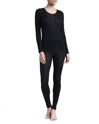 Silk Long-Sleeve Shirt & Leggings, Black