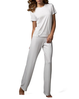 La Perla Tricot Short-Sleeve Top & Relaxed Pants, White