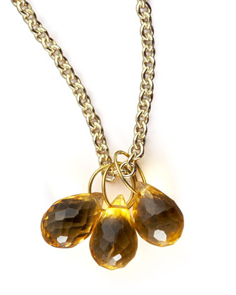 Citrine Teardrop & Gold Chain Necklace