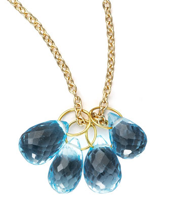 Topaz Teardrop & Gold Chain Necklace
