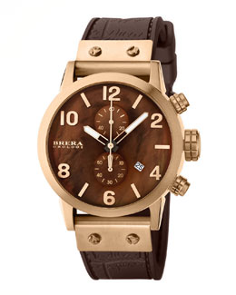 Brera Isabella Rose Golden Brown Mother-of-Pearl Dial Chronograph & Brown Crocodile-Embossed Silicone Strap