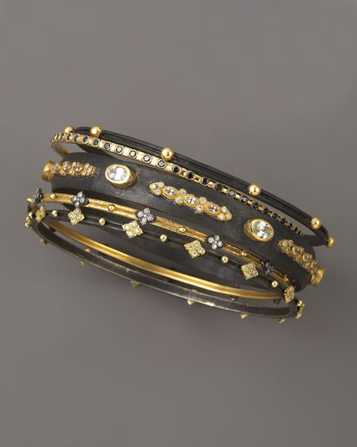 Armenta Oxidized Silver & Gold Diamond Bangles