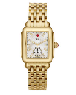 Michele Deco 16 Gold-Plate Watch, White Diamond Dial