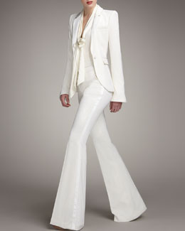 Rachel Zoe Tailored Tuxedo Jacket, Tie-Neck Plunge Blouse & Boot-Cut Tuxedo Pants